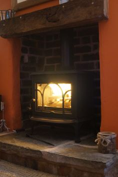 Our Norwegian Jotul F100 wood burning stove recently installed in our 1850s stone cottage!
