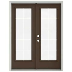 JELD-WEN 60 in. x 80 in. Dark Chocolate Prehung Right-Hand Inswing 10 Lite French Patio Door with Brickmould THDJW205900640 at The Home Depot - Mobile
