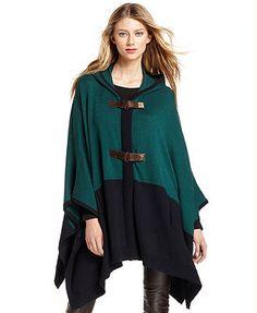 MICHAEL Michael Kors Sweater, Long-Sleeve Colorblock Poncho Hooded