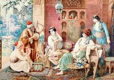 Concert party, mid 1800s. Muscians entertaining the ladies.  Artwork Amedeo Simonetti - watercolor.