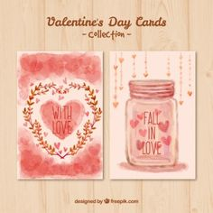 Hand painted valentines day cards in pink color