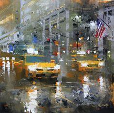 Taxi Rain by Mark Lague Oil ~ 11 x 11 Dental Art, Grand Prairie, City Scene, Southwest Art, Canadian Art, Painting Gallery, Automotive Art, City Art, Urban Landscape