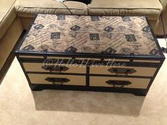 old truck tables get new life, painted furniture, Finished Trunk Coffee Table