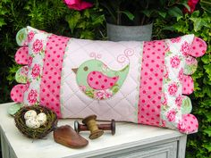 Mrs Pennyfeather by Sally Giblin of The Rivendale Collection. Finished cushion size: x 24 stitchery, appliqué and patchwork patterns. Sewing Pillows, Diy Pillows, Decorative Pillows, Patchwork Pillow, Quilted Pillow, Cushion Covers, Pillow Covers, Sewing Art, Baby Sewing