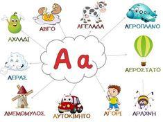 Καρτέλα για το γράμμα Α Nursery Activities, Alphabet Activities, Book Activities, Learn Greek, Grammar Exercises, Greek Language, Greek Alphabet, Create Your Own Website, School Psychology