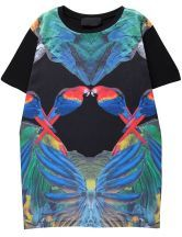 Black Short Sleeve Retro Parrot Print T-Shirt $40.39