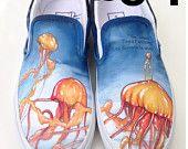 Custom Vans Shoes Hand Painted - Jellyfish