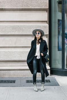Kuho Coat, Theory Top, R13 Denim, Senso Boots, Céline Bag, Janessa Leone Hat, Gentle Monster Sunglasses, From A Friend Of Mine Scarf