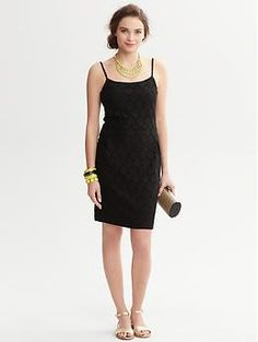 Black Lace Dress | Banana Republic | This with a BR pink cardigan for a summer outdoor dinner party tomorrow.