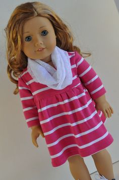 American Girl Doll Clothes Pink And White Striped Knit Dress With Infinity Scarf…