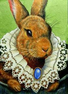"Melody Lea Lamb's Art: ""Rabbit In Victorian Lace Collar"" Mini Art ACEO Finished!"