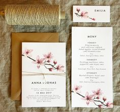 Körsbärsblom - Inbjudningskort, menykort och placeringskort till bröllop eller fest. www.annagorandesign.se