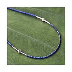 Sterling Silver 'A Pure Soul' Lapis Lazuli Necklace (Thailand)