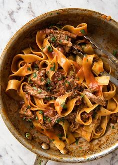 Rich, slow cooked Shredded Beef Ragu Sauce with pappardelle pasta. - Rich, slow cooked Shredded Beef Ragu Sauce with pappardelle pasta. Rich, slow cooked Shredded Beef Ragu Sauce with pappardelle pasta. Slow Cooker Recipes, Crockpot Recipes, Cooking Recipes, Healthy Recipes, Slow Cooking, Budget Cooking, Beef Ragu Slow Cooker, Budget Meals, Budget Recipes