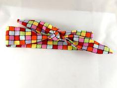 Bandeau à nouer couleur carrés multicolores : Mode Bébé par creation-ninie-baby