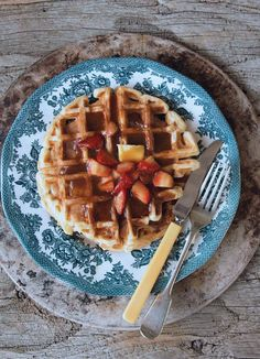 Milk and Honey: Sourdough Waffles with Brown Sugar Strawberry Sauce