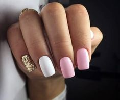 What manicure for what kind of nails? - My Nails Gold Gel Nails, Best Acrylic Nails, White Nails, My Nails, Glitter Nails, Coffin Nails, Baby Pink Nails, Pink Manicure, Stylish Nails