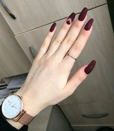 35 summer can also be recommended with Frosted nail style nails;summ… 35 summer can also be recommended with Frosted nail style nails; Best Acrylic Nails, Matte Nails, Pink Nails, My Nails, Fall Nails, Matte Maroon Nails, Fall Nail Art Designs, Nail Polish Designs, Red Nail Designs