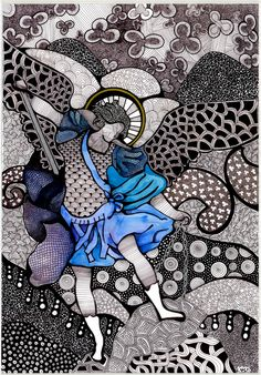 St Michael the Archangel, associated in Cuba and Haiti with Ogun, Orisha of war, progress and conquest. By Luciana Pupo (Brazil). Similarities in iconography: color blue, sword and chain Catholic Art, Religious Art, Catholic Crafts, Zentangle, St Francisco, Catholic Wallpaper, Let's Make Art, Christian Artwork, Zen Art