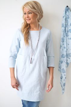 HAPPINESS Linen Tunic, BABY BLUE - BYPIAS Linen Tunics - BYPIAS