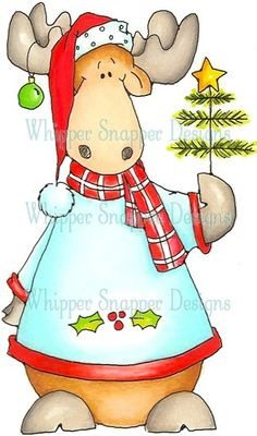 Xmas Tree Moose Rubber Stamp **  Item Number	:	#BBY885   None  Wood Mount $13.49  Cling Mount $11.49  Unmounted $10.49