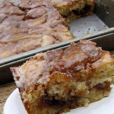 Cake: 3 c. flour 1/4 tsp.salt 1 c. sugar 4 tsp. baking powder 1 1/2 c. milk 2 eggs 2 tsp. vanilla 1/2 c. butter, melted Topping: 1 c. butter, softened 1 c. brown sugar 2 Tbsp. flour