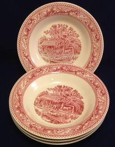 Lot of 4 Royal Ironstone Memory Lane c. 1965 Red Transferware Soup Salad Bowls #RoyalChina