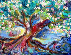 Ancient Plum Tree 30 x 40 Large Lanscape Oil by ElainesHeartsong, $675.00