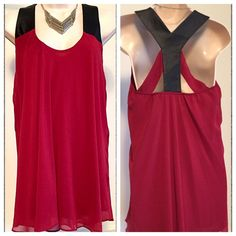 "Bisou Bisou mini dress ❤️NWOT Bisou Bisou red mini dress. Gorgeous scarlet color! Fully lined, 100% polyester with faux leather straps. Measures approx 31"" long, 36"" stretch bust. Size medium. ❤️Bundle to save! ❤️NO TRADES❤️ Reasonable offers welcome via offer button. Bisou Bisou Dresses Mini"