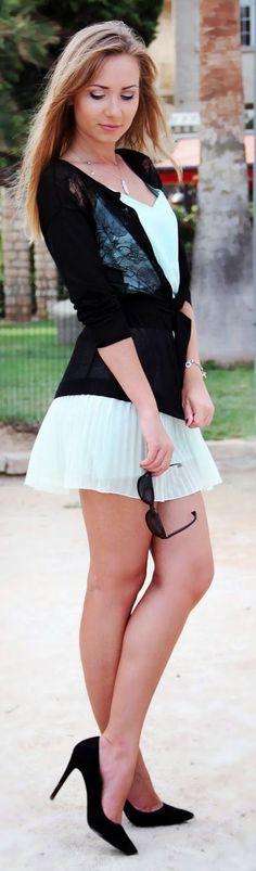 Naf Naf Black Lace Detail Cardigan