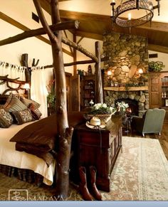 Rustic modern bedroom = looove!