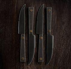 Hammered Steel Rivet Steak Knives (Set of 4)