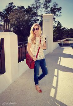 Style Guide: 4 Valentine's Day Outfit Ideas | Lauren Conrad - top loft, bag Cambridge satchel, shoes ModCloth