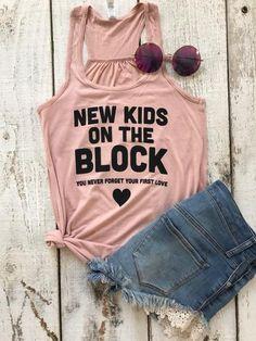 2a11ec3f3444e New Kids On The Block Women s Flowy Raceback Tank