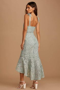 Non Traditional Bridal Shower Dresses   Sage Green Lace Midi Dress   Wedding Guest Dress Summer Outdoor Green Lace, White Lace, Winter Bridal Showers, Wedding Gifts For Bridesmaids, Engagement Dresses, Little White Dresses, Lace Midi Dress, Bridal Dresses, Fashion