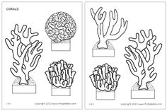 These free printable coral sets come in both black-and-white and colored versions. They are great for making coral reef dioramas and various ocean-themed crafts and learning activites. Ocean Theme Crafts, Ocean Themes, Coral Reef Craft, Ocean Diorama, Think Tank, Ocean Habitat, Brain Coral, Magic School Bus, Printables