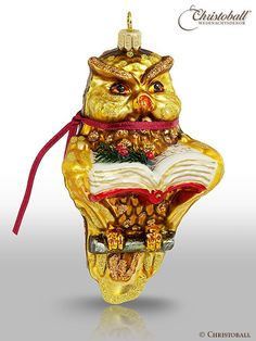 Wise owl ornament Christoball Premium Weihnachtskugel Eule