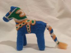 Needle Felted Blue Pony  needle felted Dala horse  by MyBuddyBling, $39.00