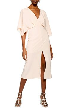 be68525f500 Free shipping and returns on Topshop Batwing Plunge Tea Length Dress at  Nordstrom.com.