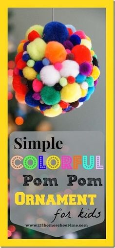 Christmas Ornament Craft for Kids- This Simple Colorful Pom Pom Christmas Craft for Kids will be a huge hit with your preschool, kindergarten, and elementary age kids. Easy Ornaments, Kids Christmas Ornaments, Christmas Crafts For Kids To Make, Preschool Christmas, Fun Crafts For Kids, Christmas Activities, Preschool Crafts, Preschool Kindergarten, Diy For Kids