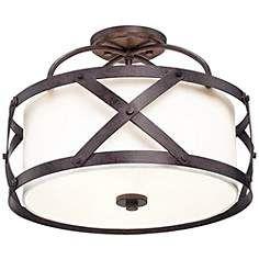 """Patrick bedroom Franklin Iron Works™ Alder 16"""" Wide Bronze Ceiling Light"""