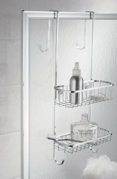 InterDesign 59602 Over Shower Caddy by InterDesign. $30.14. Bright chrome finish stainless steel is rust-resistant and durable  Over shower door design for easy installation in seconds