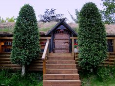 The viking house seen from the garden.  Ombo, Rogaland, Norway.