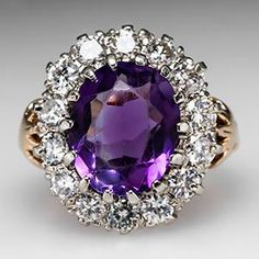 >>>Cheap Sale OFF! >>>Visit>> Vintage amethyst diamond halo cocktail ring gold by Ayuna Purple Jewelry, Amethyst Jewelry, Gems Jewelry, Gemstone Jewelry, Jewelery, Fine Jewelry, Amethyst Rings, Amethyst Birthstone, Jewelry Box