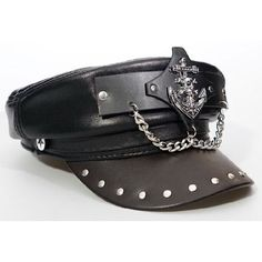 Black Chocolate Leather Studded Gothic Punk Rock Fashion Army Hat Cap SKU-71108114