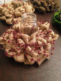 Hey, I found this really awesome Etsy listing at https://www.etsy.com/listing/197830092/burlap-wreath-candle-holder-centerpiece wedding rustic