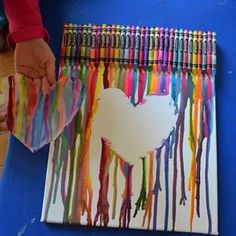 Fun Crayon Art By Blow Drying Crayons Down A White Canvas