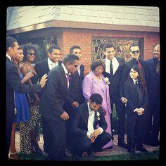 "The Jackson Family from ""Taj & Thayana wedding"", June 16, 2013.  (L-R Taryll Jackson, Genevieve Jackson, Yashi Brown, Tito Jackson, Donte Jackson, Taj Jackson, Katherine Jackson, Randy Jackson Jr., Blanket, Unknown, and Jermaine Jackson II.)"