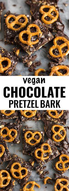 Vegan Chocolate Sea Salt Pretzel Bark Recipe #ad (gluten free.) An indulgent healthy dessert that is so addicting! #vegan #veganpretzelbark #dessert #chocolate #healthy #vegandessert