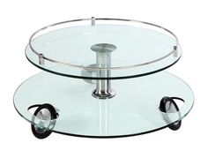 Stationary Wheels Cocktail Table w/Glass Swivel Top